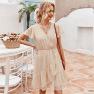 Women S Summer Ruffled Solid Color Fairy Dress  NSKA971