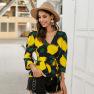 Spring Elegant V-neck Shirt Print Small Shirt Wholesale NSKA1057