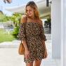 Summer One-shoulder Dress Leopard Print Elegant Skirt NSKA1059