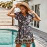 Women's Bohemian Style Elegant Dress Spring And Summer Cotton And Linen Floral Skirt NSKA1060