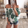 Fashion New Printed One-shoulder Top T-shirt  NSYF1105