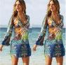 Hot Sale New Autumn Clothes Sexy V-neck Chiffon Printed Beach Short Skirt  NSYF1107