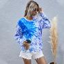 Leisure Digital Printing Women's Round Neck Long-sleeved Tie-dye Sweater  NSDF1155