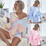 Comfortable Breathable Long-sleeved Tie-dye Home Wear Two-piece Ladies Suit NSDF1281