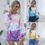 New Round Neck Tie-dye Sweater Women Long-sleeved Pullover Sports Loose Top  NSDF1283