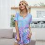 Hot Tie-dye Powder Jumpsuit Women S Short-sleeved T-shirt Jumpsuit NSDF1296