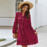 Fashion Women's Spring And Summer Long-sleeved Polka Dot Rayon Dress NSKA1336