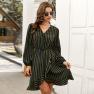 Fashion Women's Striped Dress New Autumn Long Sleeve Skirt NSKA1342