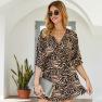 Women's Spring And Summer New Leopard Print V-neck Three-quarter Sleeve Dress NSKA1344