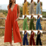 Fashion Women S V-neck Strap Sexy Solid Color Jumpsuit NSDF1479