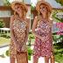 Floral Dress Halter Sling V-neck Women's Skirt  NSDF1491