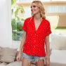 New Women's V-neck Printed Shirt Short-sleeved Shirt Suit Shirt  NSDF1492