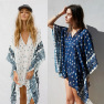 Bat Sleeve Long Sleeve Stitching Loose V-neck Top Printed Women's Sun Protection Outer Blouse NSDF1514
