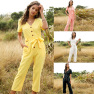 Hot Sale Spring And Summer Hot New Fashion Women's Single-breasted All-match Nine-point Jumpsuit NSDF1516