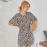 Summer New Hot Sale Button Leopard Print Fold Printing V-neck Horn Five-point Sleeve Loose Jumpsuit NSDF1518