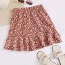 Summer New Holiday Style Floral Skirt Skirt Fungus Lotus Leaf Beach Chiffon Skirt NSDF1523
