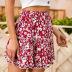 summer new red high-waisted ruffled wood ears elastic small floral skirt beach skirt NSDF1528