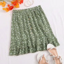 Summer New Women's Floral Short Skirt Small Daisy Wood Ear Print Wrinkle Skirt  NSDF1540