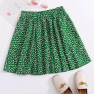 Summer New Hot Selling Green Pleated Ruffled Half-length Floral Lace-up A-line Skirt NSDF1551