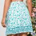 summer new shorts blue floral high waist loose wide-leg waist tie casual A-line pants NSDF1557