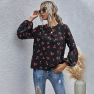 Autumn Women's Fruit Pattern Round Neck Casual Long-sleeved Top NSDF1588