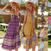 print loose V-neck stitching large swing suspender dress women's clothing NSDF1593