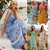 Print Ruffled V-neck Sling Dress  NSDF1596