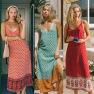 Hot Selling Print Hem Stitching Split Straight Sling Dress NSDF1609