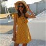 Polka Dot Stitching Ruffled Square Collar Sleeveless Short Dress NSDF1614