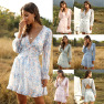 Fashion Short Dress New Ruffled V-neck Floral Cake Skirt Lantern Sleeves  NSDF1618