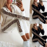 Leopard Print Long-sleeved Pocket Plus Velvet Printed Zipper Hoodie Trousers  NSYF1825
