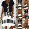 Printed Stitching Short-sleeved V-neck Dress NSYF1840