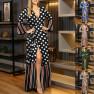 Fashion Sexy V-neck Waist Printing Dress NSYF1842