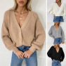 Cardigan Solid Color V-neck Lantern Sleeve Button Knitted Cardigan NSYF1846