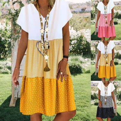 Printing V-neck Short-sleeved Dress NSYF1850