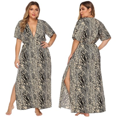 Print Deep V High Sexy Short Sleeve Waist Beach Dress  NSOY27374