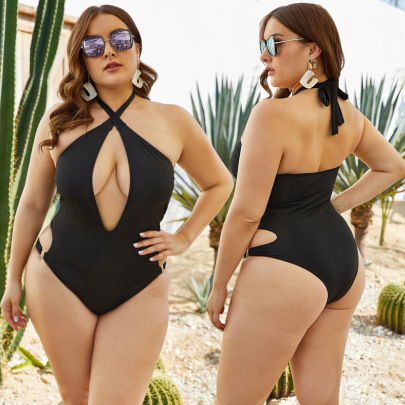 Side Waist Hollow Plus Size Swimsuit  NSLM27923