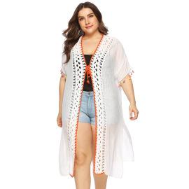 Plus Size Hand Crochet Stitching Beach Blouse  NSOY28425