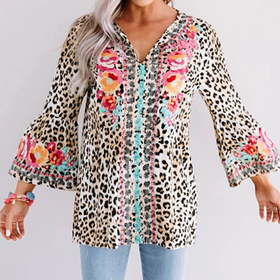 New Printed Large Size Loose Cardigan Blouse NSZH28704