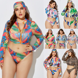 Printed Large Size Split Swimwear Three-piece Set NSLM28961