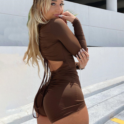 Solid Color Back Pleated Zipper Sexy One-piece Shorts NSMX30369