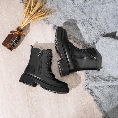 Fashion Buckle Plus Velvet Short Boots NSNL30436