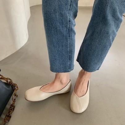Soft Leather Flat Shoes NSHU33062