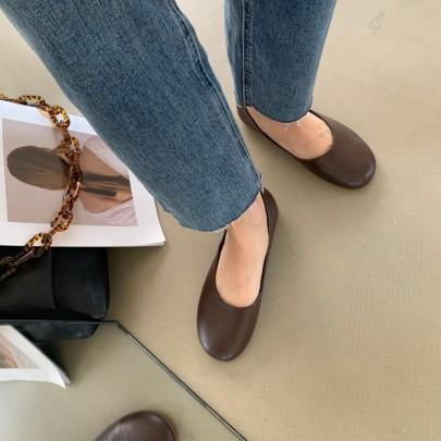 Fashion Flat Round Retro Grandma Shoes NSHU33063
