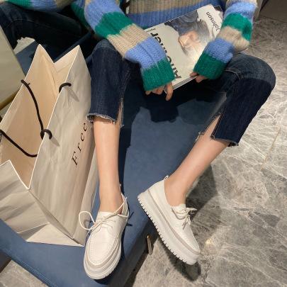 Soft Leather Fashion Casual Lace-up Platform White Shoes NSHU33093
