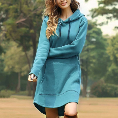 Fall/winter Plus Velvet Pocket Hooded Sweatshirt NSLZ33230