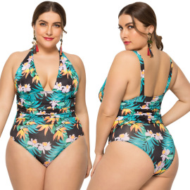 Sexy Plus Size Printing One-piece Swimsuit   NSLM33265