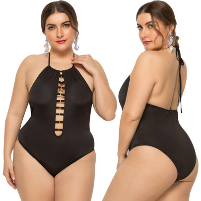 Sexy Neckline Hollow Sling Large Size One-piece Swimsuit NSLM33310