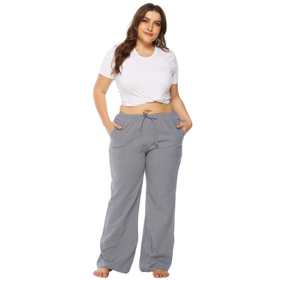 Large Size Loose Pocket Mid-waist Flared Pants  NSOY33786