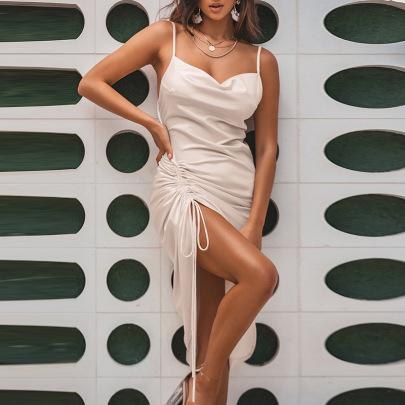 New Fashion Sexy Backless Lace-up Slit Pleated Sling Long Skirt  NSMI26094